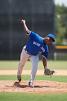 GCL Blue Jays relief pitcher Eliezer Bello (66) delivers a pitch during a game against the GCL Yankees East on August 2, 2018 at Yankee Complex in Tampa, Florida.  GCL Yankees East defeated GCL Blue Jays 5-4.  (Mike Janes/Four Seam Images)
