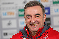 Manager Carlos Carvalhal speaks to reporters during the Swansea City Press Conference at The Fairwood Training Ground, Swansea, Wales, UK. Thursday 11 January 2018