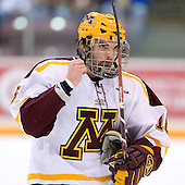 Mike Carman (University of Minnesota - Apple Valley, MN) warms up. The University of Minnesota Golden Gophers defeated the Michigan State University Spartans 5-4 on Friday, November 24, 2006 at Mariucci Arena in Minneapolis, Minnesota, as part of the College Hockey Showcase.