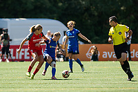 Seattle, WA - Saturday, August 26th, 2017: Jess Fishlock and Lindsey Horan during a regular season National Women's Soccer League (NWSL) match between the Seattle Reign FC and the Portland Thorns FC at Memorial Stadium.