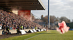 Smokebomb on the pitch after the Rangers equaliser