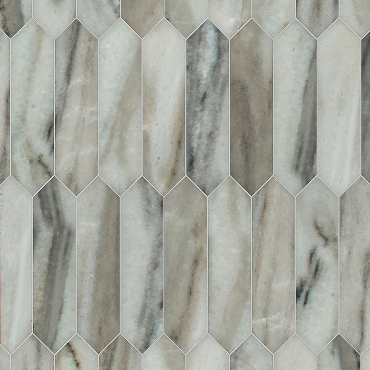 Picket, a hand-cut stone mosaic, shown in honed Angora, is part of the Semplice® collection for New Ravenna.