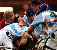 2005 British & Irish Lions vs Argentina, at The Millennium Stadium, Cardiff, WALES played on  23.05.2005, No 8 Juan Manuel Leguizamon hold's the ball up. Lewis Moody..Photo  Peter Spurrier. .email images@intersport-images.