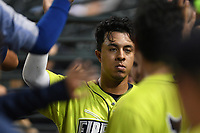 Third baseman Mark Vientos (12) of the Columbia Fireflies is greeted after scoring a run in a game against the Hickory Crawdads on Tuesday, August 27, 2019, at Segra Park in Columbia, South Carolina. Columbia won, 3-2. (Tom Priddy/Four Seam Images)