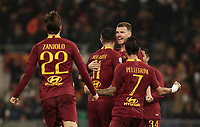 Football, Serie A: AS Roma - Bologna FC, Olympic stadium, Rome, February 18, 2019. <br /> Roma&rsquo;s Aleksandar Kolarov (c) celebrates after scoring with his teammates during the Italian Serie A football match between AS Roma and Bologna FC at Olympic stadium in Rome, on February 18, 2019.<br /> UPDATE IMAGES PRESS/Isabella Bonotto