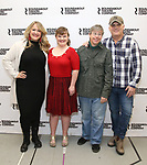 "Lindsey Ferrentino, Jamie Brewer, Edward Barbanell and Scott Ellis attends the Meet & Greet for the cast of ""Amy and the Orphans"" at the Roundabout Theatre rehearsal hall on January 10, 2018 in New York City."