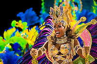 A dancer of Imperatriz samba school performs atop a float during the Carnival parade at the Sambadrome in Rio de Janeiro, Brazil, 20 February 2012. The Carnival in Rio de Janeiro, considered the biggest carnival in the world, is a colorful, four day celebration, taking place every year forty days before Easter. The Samba school parades, featuring thousands of dancers, imaginative costumes and elaborate floats, are held on the Sambadrome, a purpose-built stadium in downtown Rio. According to costumes, flow, theme, band music quality and performance, a single school is declared the winner of the competition.