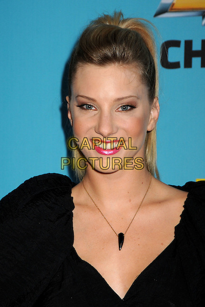 """HEATHER MORRIS .Fox's """"Glee"""" Spring Premiere Soiree held at Bar Marmont, West Hollywood, California, USA, .12th April 2010..portrait headshot hair up smiling necklace  black .CAP/ADM/BP.©Byron Purvis/AdMedia/Capital Pictures."""