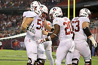 San Diego, CA - September 16, 2017:  Stanford Football vs. San Diego State at Qualcomm Stadium. Final score: San Diego State 20, Stanford 17. Bryce Love after a 53 yard touchdown run in the 4th quarter.