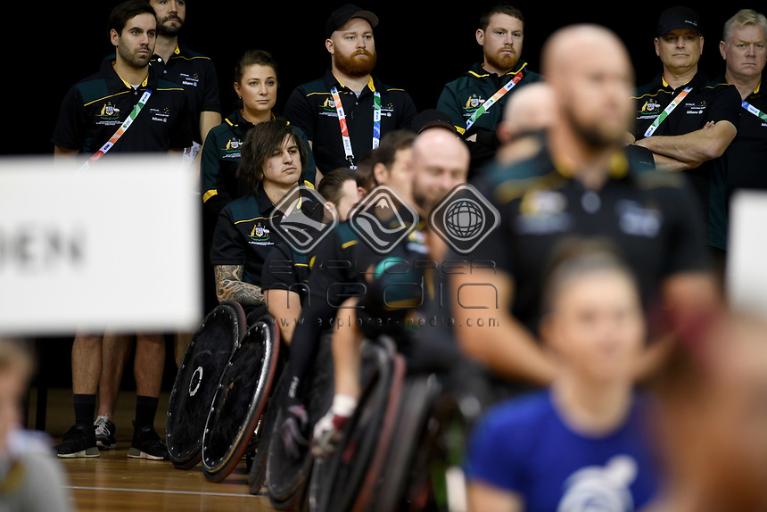 Australian Steelers staff<br /> Australian Wheelchair Rugby Team<br /> 2018 IWRF WheelChair Rugby <br /> World Championship / Day 1<br /> Sydney  NSW Australia<br /> Sunday 5th August 2018<br /> &copy; Sport the library / Jeff Crow / APC