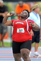 11 May 2013:  Individuals compete in the Women's Shot Put on day two of the 2013 Sun Belt Conference Outdoor Track & field Championships at the Ansin Sports Complex in Miramar, Florida.