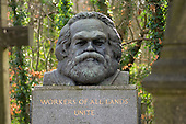 The tomb of Karl Marx in Highgate Cemetery, London.
