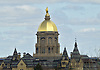 April 20, 2013: A view from the press box of the Administration Building with the Golden Dome during the Notre Dame Blue-Gold Spring game at Notre Dame Stadium in South Bend, Indiana.  The Defense topped the Offense by a score of 54-43.