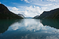 Lake Gjende looking towards Gjendesheim from Memurubu, Jotunheimen national park, Norway