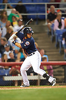 Binghamton Mets outfielder Josh Rodriguez (7) at bat during a game against the Trenton Thunder on August 8, 2015 at NYSEG Stadium in Binghamton, New York.  Trenton defeated Binghamton 4-2.  (Mike Janes/Four Seam Images)