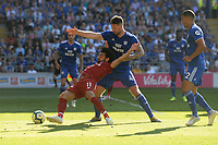 Liverpool's Mohamed Salah is brought down by Cardiff City's Sean Morrison<br /> <br /> Photographer Ian Cook/CameraSport<br /> <br /> The Premier League - Cardiff City v Liverpool - Sunday 21st April 2019 - Cardiff City Stadium - Cardiff<br /> <br /> World Copyright © 2019 CameraSport. All rights reserved. 43 Linden Ave. Countesthorpe. Leicester. England. LE8 5PG - Tel: +44 (0) 116 277 4147 - admin@camerasport.com - www.camerasport.com