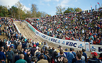 U23 World Champion Wout Van Aert (BEL/Vastgoedservice-Golden Palace) leading the race into the infamous &quot;The Pit&quot; with already thousands of fans present to support the riders<br /> <br /> GP Zonhoven 2014