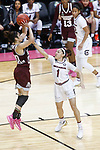 DALLAS, TX - APRIL 2: Dominique Dillingham #00 of the Mississippi State Lady Bulldogs attempts a shot over Bianca Cuevas-Moore #1 of the South Carolina Gamecocks during the 2017 Women's Final Four at American Airlines Center on April 2, 2017 in Dallas, Texas. (Photo by Timothy Nwachukwu/NCAA Photos via Getty Images)