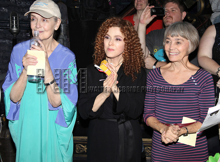 Mary Beth Peil, Bernadette Peters & Susan Watson.attending the Opening Night Gypsy Robe Ceremony for 'Follies' Recepient Jennifer Foote at the Marquis Theatre in New York City.