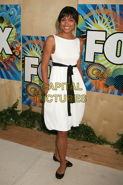 TAMARA TAYLOR.FOX 2007 Summer All-Star TCA Press Tour Party at Pacific Park on the Santa Monica Pier, Santa Monica, California, USA..July 23rd, 2007.full length white dress pumps black belt sash knotted sleeveless hands in pockets.CAP/ADM/BP.©Byron Purvis/AdMedia/Capital Pictures