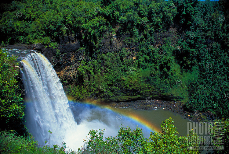 Wailua falls with rainbow, Kauai