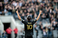 LOS ANGELES, CA - MARCH 01: Carlos Vela #10 of LAFC scores a goal and celebrates during a game between Inter Miami CF and Los Angeles FC at Banc of California Stadium on March 01, 2020 in Los Angeles, California.