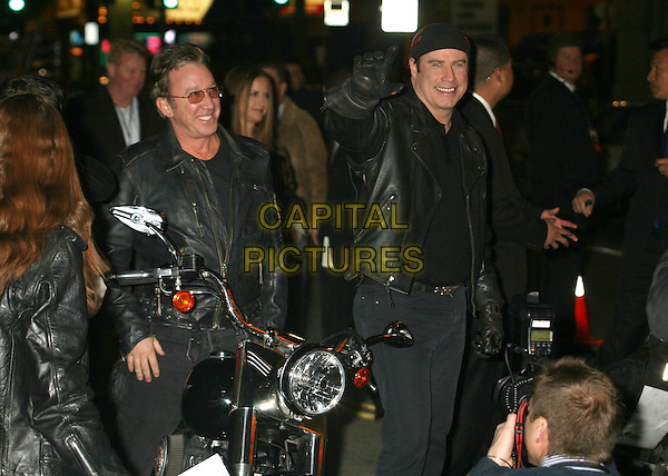 "TIM ALLEN & JOHN TRAVOLTA.""Wild Hogs"" Los Angeles Premiere at the El Capitan Theatre, Hollywood, California, USA..February 27th, 2007.half length sunglasses shades bandana motorcycle bike black leather jacket .CAP/ADM/BP.©Byron Purvis/AdMedia/Capital Pictures"