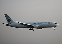 An Air Canada Boeing 767-375(ER) Registration C-GLCA landing on runway 09L at London Heathrow Airport on 3.8.19 arriving from Ottawa Macdonald-Cartier International Airport, Canada.