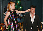 """Charlotte Wise and Craig Wesley Divino attend the Birthday Party Photo Call for the Wheelhouse Theater Company production of Kurt Vonnegut's """"Happy Birthday, Wanda June""""  on October 3, 2018 at Bond 45 Times Square in New York City."""