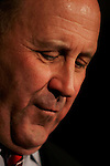Wisconsin govenor Jim Doyle momentarily reflects during his re-election victory speech Nov. 7, 2006. Doyle defeated his opponent congressman Mark Green 53 percent to 45 percent in the mid-term elections.
