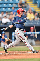 Hagerstown Suns left fielder Matthew Page (32) swings at a pitch during a game against the Asheville Tourists at McCormick Field on April 26, 2016 in Asheville, North Carolina. The Suns defeated the Tourists 8-7. (Tony Farlow/Four Seam Images)