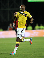 BOGOTA – COLOMBIA -  23-05-2014: Adrian Ramos, delantero de la Selección Colombia de futbol en partido durante fiesta de despedida en el estadio Nemesio Camacho el campin de la ciudad de Bogota, Colombia parte hacia La copa Mundo Brasil 2014. / Adrian Ramos, forward of Colombia soccer team in a math during a farewell party at the stadium Nemesio Camacho El Campin stadium in Bogota city, Colombia travels to the World Cup Brazil 2014. Photo: VizzorImage / Luis Ramirez / Staff.