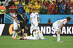 (L-R) Lee Chung-Yong (KOR), Mousa Dembele (BEL), Lee Yong, Ki Sung-Yueng, Koo Ja-Cheol (KOR),<br /> JUNE 26, 2014 - Football / Soccer :<br /> Mousa Dembele of Belgium consoles Lee Chung-Yong of South Korea as South Korea players look dejected after the FIFA World Cup Brazil 2014 Group H match between South Korea 0-1 Belgium at Arena de Sao Paulo in Sao Paulo, Brazil. (Photo by SONG Seak-In/AFLO)