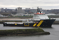 Oil Supply ship Caledonian Vision leaving Aberdeen harbour.