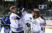 28th September 2017, Saturn Arena, Ingolstadt, Germany; German Hockey League,  ERC Ingolstadt versus Eisbaren Berlin; joy over the first goal for Berlin, from left  Nick PETERSEN (Berlin/CAN), Sean BACKMAN (Berlin/US),