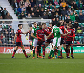 4th November 2017, Easter Road, Edinburgh, Scotland; Scottish Premiership football, Hibernian versus Dundee; Dundee's Jack Hendry and Hibernian's John McGinn are kept apart but team mates after they had clashed