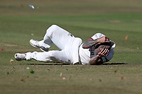 Peter Trego of Somerset takes evasive action as a swirling wind crosses the outfield during Essex CCC vs Somerset CCC, Specsavers County Championship Division 1 Cricket at The Cloudfm County Ground on 25th June 2018