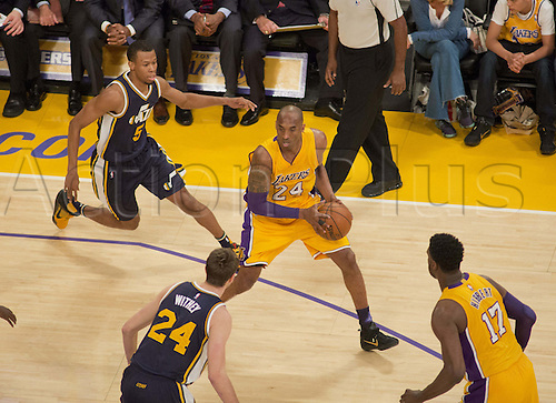 13.04.2016. Los Angeles, California, USA. Kobe Bryant #24 of the Los Angeles Lakers during their game with the Utah Jazz at Staples Center in Los Angeles, California on Wednesday April 13, 2016. Today is Bryant's last game