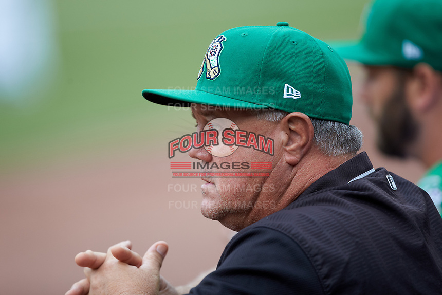 Chicago White Sox Player Development Assistant Tommy Thompson watches from the Caballeros de Charlotte dugout during the game against the Buffalo Bisons at BB&T BallPark on July 23, 2019 in Charlotte, North Carolina. The Bisons defeated the Caballeros 8-1. (Brian Westerholt/Four Seam Images)