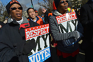 February 27, 2013  (Washington, DC)  Supporters of the Voting Rights Act gather in front of the U.S. Supreme Court. The Court heard arguments regarding the constitutionality of Section 5 of the Voting Rights Act.   (Photo by Don Baxter/Media Images International)