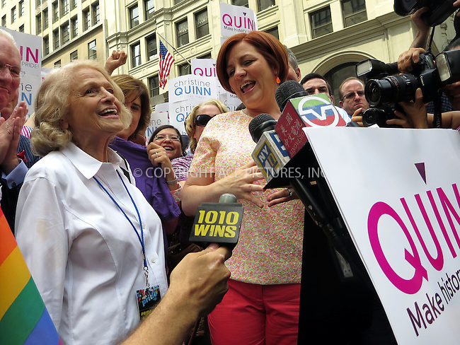 WWW.ACEPIXS.COM<br /> <br /> April 30 2013, New York City<br /> <br /> Edie Windsor and Christine Quinn at The March during NYC Pride 2013 on June 30, 2013 in New York City.<br /> <br /> <br /> By Line: Curtis Means/ACE Pictures<br /> <br /> <br /> ACE Pictures, Inc.<br /> tel: 646 769 0430<br /> Email: info@acepixs.com<br /> www.acepixs.com
