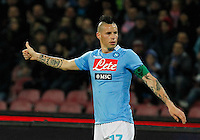 Marek Hamsik   in action during the Italian Serie A soccer match between SSC Napoli and AC Fiorentina   at San Paolo stadium in Naples, March 22 , 2014