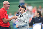 12th January 2018,  Kooyong Lawn Tennis Club, Kooyong, Melbourne, Australia; Priceline Pharmacy Kooyong Classic tennis tournament; Belinda Bencic of Switzerland smiles after defeating Andrea Petkovic of Germany in the Kooyong Classic Women's final