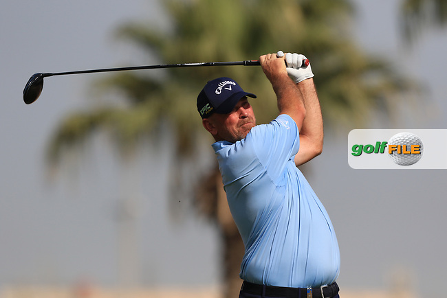 Thomas Bjorn (DEN) on the 3rd during Round 4 of the Omega Dubai Desert Classic, Emirates Golf Club, Dubai,  United Arab Emirates. 27/01/2019<br /> Picture: Golffile | Thos Caffrey<br /> <br /> <br /> All photo usage must carry mandatory copyright credit (&copy; Golffile | Thos Caffrey)