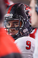 Arkansas State quarterback Fredi Knighten (9) during NCAA Football game, Thursday, November 20, 2014 in San Marcos, Tex. Texas State leads Arkansas State 28-14 at the halftime. (Mo Khursheed/TFV Media via AP Images)