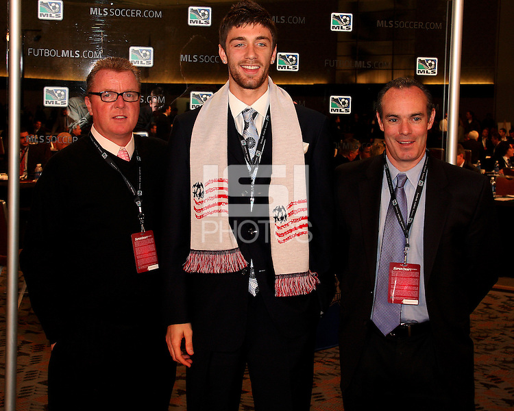 Stephen McCarthy with New England staff at the 2011 MLS Superdraft, in Baltimore, Maryland on January 13, 2010.