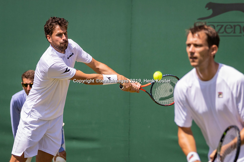 London, England, 4 July, 2019, Tennis,  Wimbledon, Mens doubles: Robin Haase (NED) and Frederik Nielsen (DEN) (R)<br /> Photo: Henk Koster/tennisimages.com