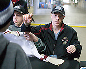 Patrick Alber (BC - 27), Tommy Atkinson (BC - 28) - The Boston College Eagles signed autographs at Ford Field prior to the Humanitarian and Hobey Baker Award presentations and the 2010 Frozen Four Skills Challenge on Friday, April 9, 2010 in Detroit, Michigan.