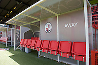 A general view of the away bench before the Sky Bet League 2 match between Crawley Town and Wycombe Wanderers at Broadfield Stadium, Crawley, England on 6 August 2016. Photo by Alan  Stanford / PRiME Media Images.