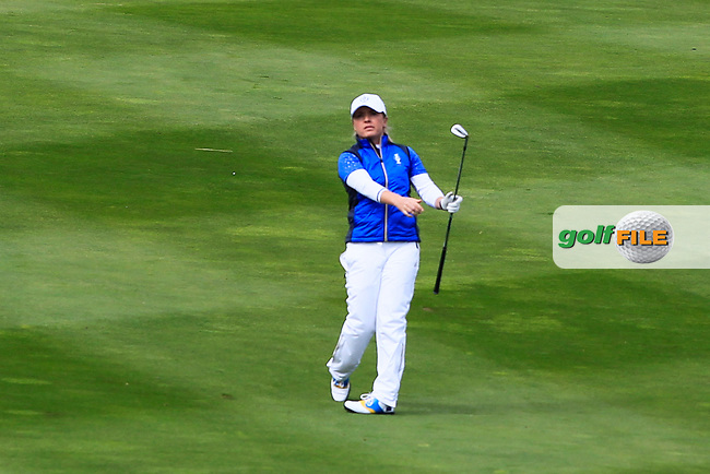 Bronte Law (EUR) on the 1st fairway during Day 3 Singles at the Solheim Cup 2019, Gleneagles Golf CLub, Auchterarder, Perthshire, Scotland. 15/09/2019.<br /> Picture Thos Caffrey / Golffile.ie<br /> <br /> All photo usage must carry mandatory copyright credit (© Golffile   Thos Caffrey)